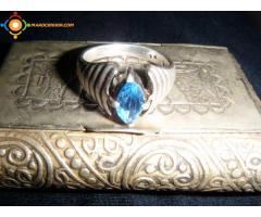 bague en argent ancienne ave pierre bleu rare pour femme