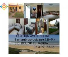 Location vacance appartement meublé+piscine à la plage de Sidi Bouzid El Jadida
