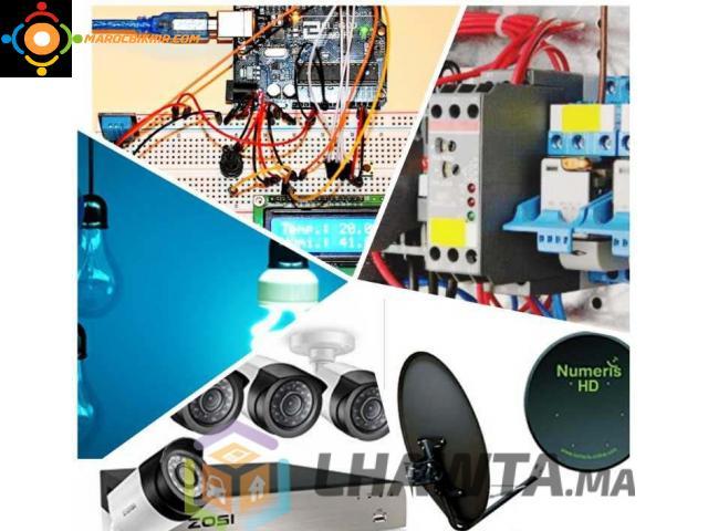 Installation  parabole et camera et electrique
