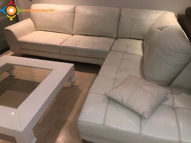 salon italien en cuir blanc a vendre en tres bon etat