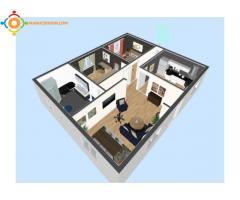 Création de plan 2D et 3D avec la décoration intérieure,